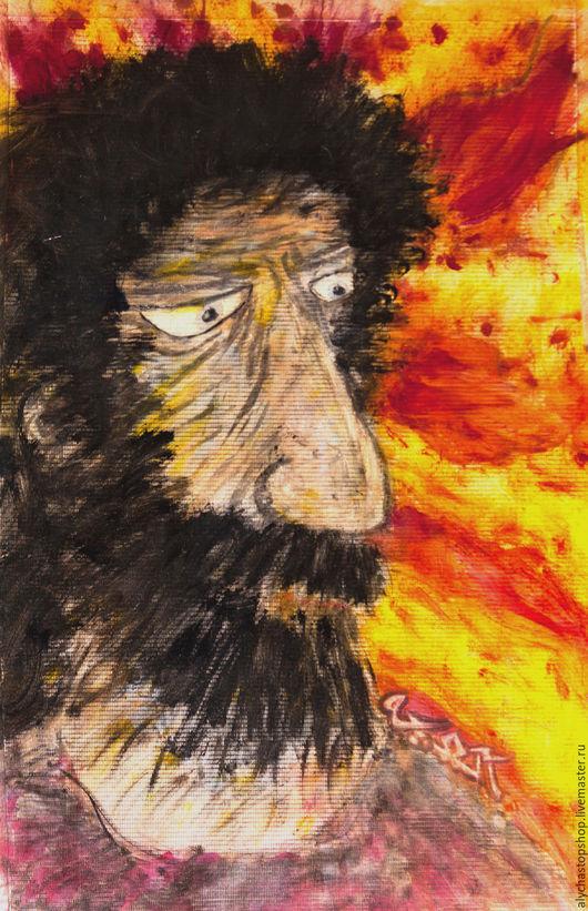 Люди, ручной работы. Ярмарка Мастеров - ручная работа. Купить Цыган. Handmade. Рыжий, борода, маркеры, баннер, подрамник, лак
