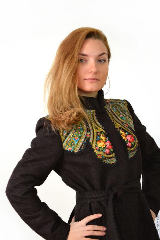 """Верхняя одежда ручной работы. Ярмарка Мастеров - ручная работа. Купить Пальто демисезонное """"Русские узоры"""". Handmade. Черный"""
