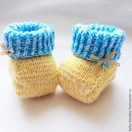 Для новорожденных, ручной работы. Ярмарка Мастеров - ручная работа. Купить Яркие пинетки. Handmade. Желтый, цветочный