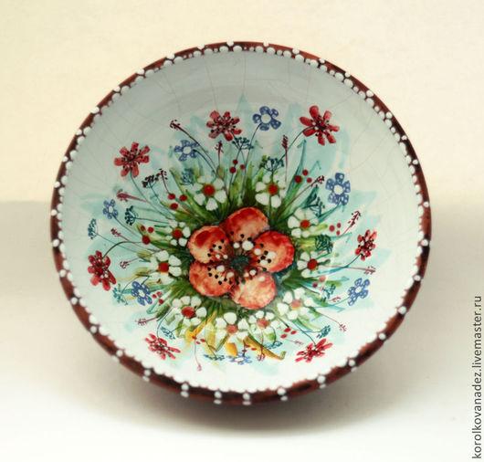 Тарелки ручной работы. Ярмарка Мастеров - ручная работа. Купить Керамическая тарелка миска (майолика). Handmade. Керамика, посуда с росписью