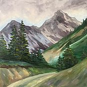 Картины и панно handmade. Livemaster - original item Oil painting with mountains and coniferous trees