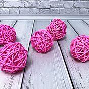 Декор для флористики ручной работы. Ярмарка Мастеров - ручная работа Шар из ротанга розовый. Handmade.