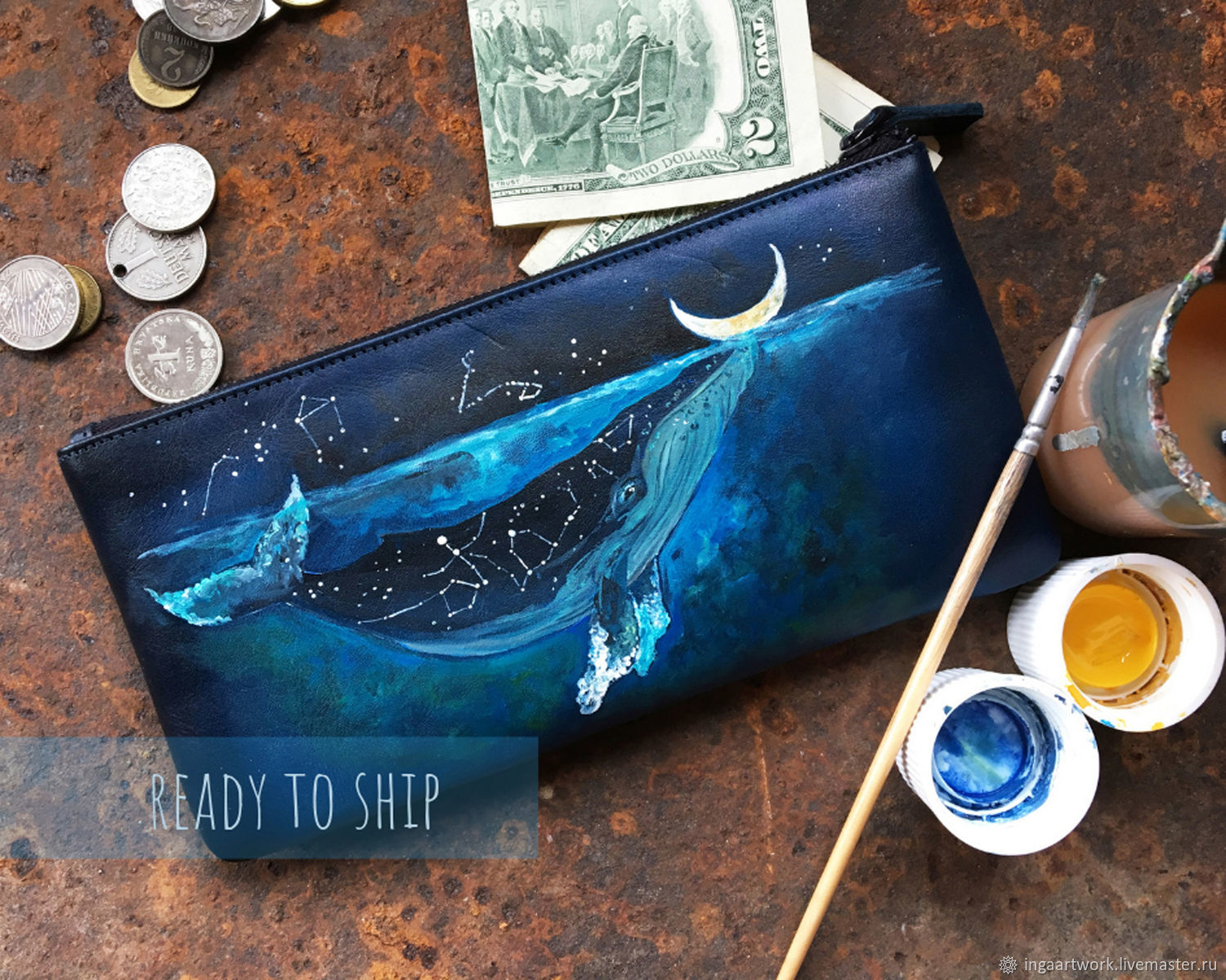 Hand painted natural leather purse with sea creatures. Whale, Moon, Wallets, Trakai,  Фото №1