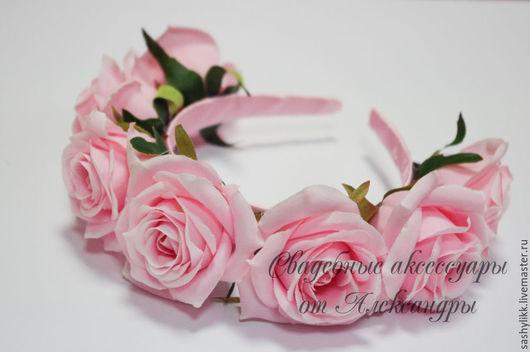 Диадемы, обручи ручной работы. Ярмарка Мастеров - ручная работа. Купить Ободоки с розами №15, 4 цветов. Handmade. Разноцветный