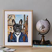 Картины и панно ручной работы. Ярмарка Мастеров - ручная работа Постер. Французский бульдог - парижанин. Handmade.