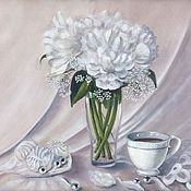 Pictures handmade. Livemaster - original item Painting with flowers: Mother-of-pearl peonies. Handmade.