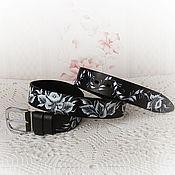 Аксессуары handmade. Livemaster - original item Leather womens belt with painting