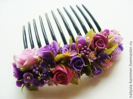 Заколки ручной работы. Ярмарка Мастеров - ручная работа. Купить Гребень для волос. Handmade. Сиреневый, гребень для волос