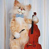 Куклы и игрушки handmade. Livemaster - original item Bassist Knitted toy cat. Handmade.