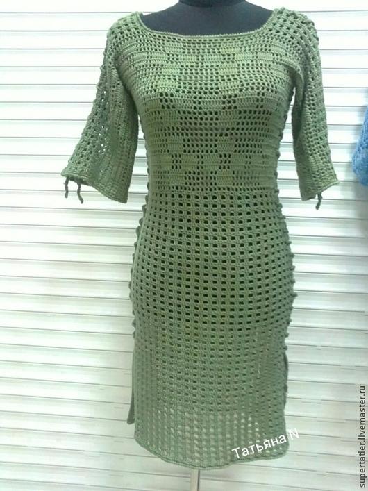 Платья ручной работы. Ярмарка Мастеров - ручная работа. Купить Платье крючком. Handmade. Салатовый, платье зимнее, платье офисное