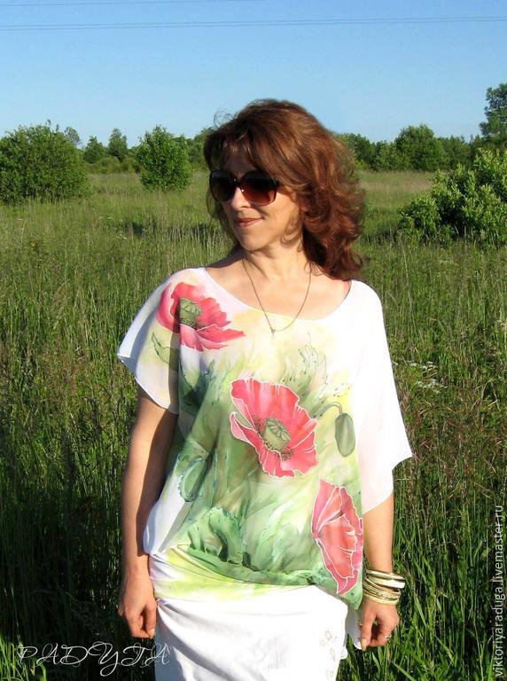 Author's blouse 'Poppies' - batik, Blouses, Slavsk,  Фото №1