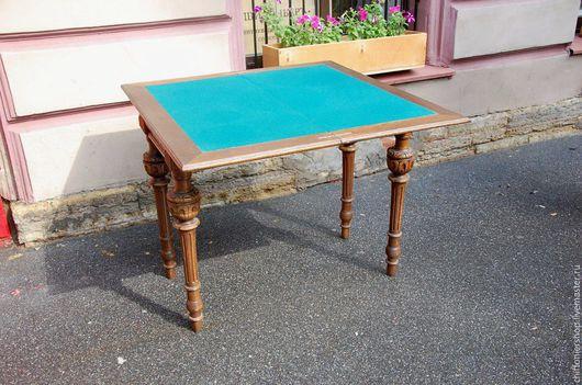 Винтажные предметы интерьера. Ярмарка Мастеров - ручная работа. Купить Антикварный ломберный (игральный) столик. Handmade. Тёмно-бирюзовый, карты