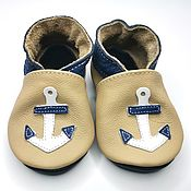 Работы для детей, handmade. Livemaster - original item Anchor Baby Shoes,Baby Moccasins,Ebooba,Leather Baby Shoes. Handmade.