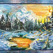 Картины и панно handmade. Livemaster - original item The sun over the snow. Handmade.