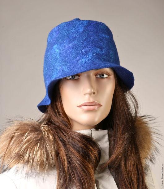 шляпа валяная синего цвета