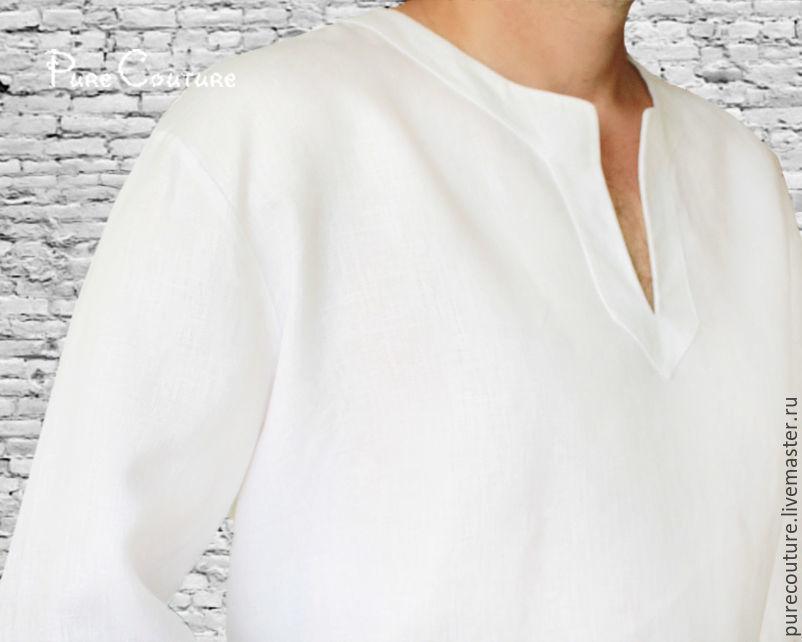 667832e4060 ... Белая рубашка мужская Льняная рубаха Летняя одежда свободный крой  Льняная одежда Летняя рубашка Мужская одежда Стильная