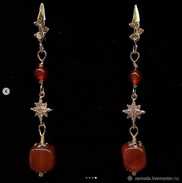 Earrings with carnelian and sardonyx, Earrings, Kotelniki,  Фото №1