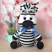 handmade. Livemaster - original item Knitted toy Zebra Martin. Handmade.