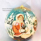 Подарки к праздникам handmade. Livemaster - original item Christmas ball-a stash of wood with unique painted 10 cm