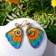 """Order Brass wire wraped earrings """"Butterfly wings - 1"""". IVA rainbow art. Livemaster. . Earrings Фото №3"""