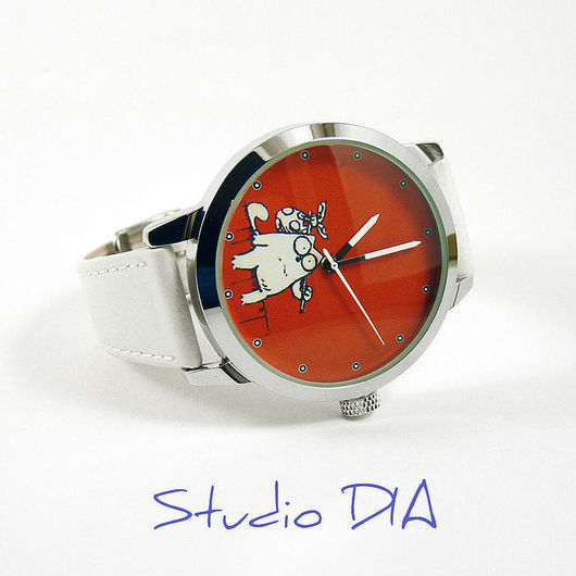Часы. Наручные Часы. Оригинальные Дизайнерские Часы Кот Саймон Сидит. Студия Дизайнерских Часов и Кулонов DIA.
