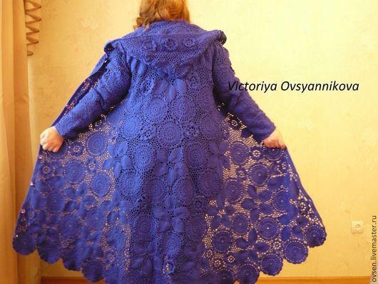 """Верхняя одежда ручной работы. Ярмарка Мастеров - ручная работа. Купить Пальто вязаное """"Магия синего"""" в технике ирландское кружево. Handmade."""