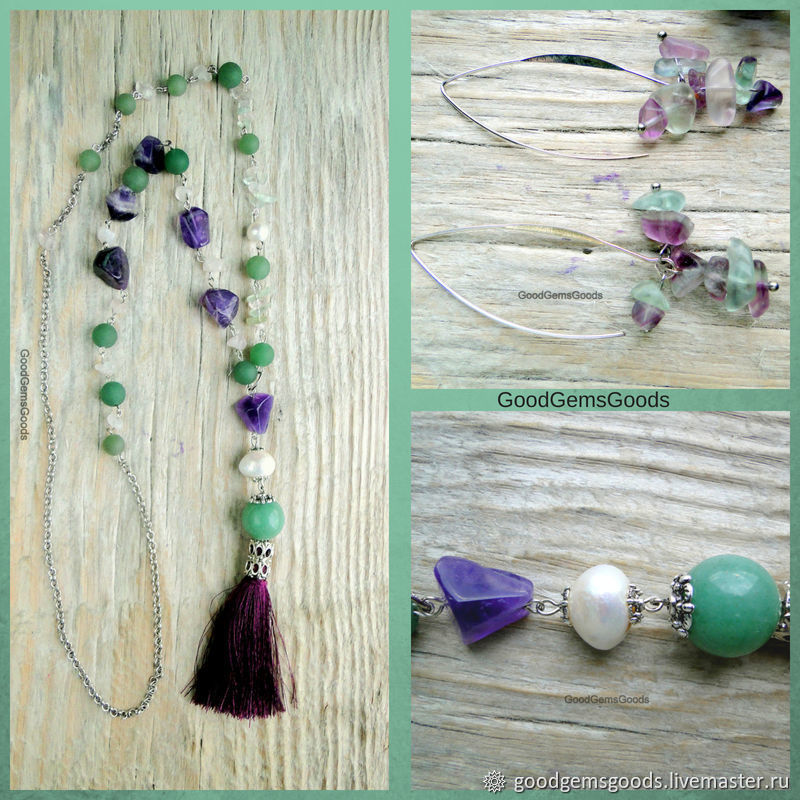 Set 'Lavender' :with pendant and earrings purple green, Jewelry Sets, Almaty,  Фото №1