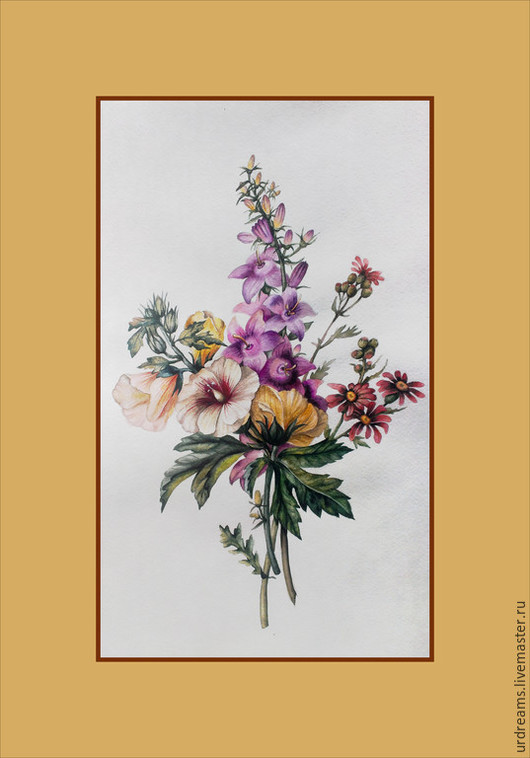 Картины цветов ручной работы. Ярмарка Мастеров - ручная работа. Купить За околицей. Handmade. Разноцветный, ботанический рисунок