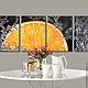 Животные ручной работы. Ярмарка Мастеров - ручная работа. Купить Модульная картина - Апельсиновый всплеск. 84х30см. Светится в темноте. Handmade.
