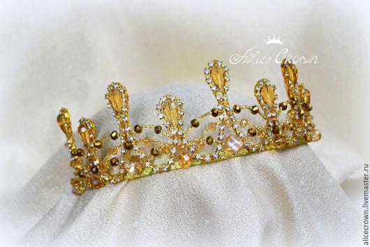 """Диадемы, обручи ручной работы. Ярмарка Мастеров - ручная работа. Купить Диадема """"Злата"""". Handmade. Золотой, корона, королева, сказочный"""