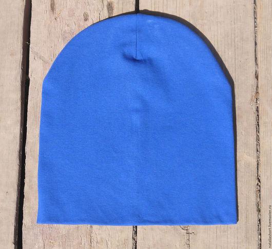Шапки ручной работы. Ярмарка Мастеров - ручная работа. Купить Шапка трикотажная, шапка бини, хлопок. Handmade. Тёмно-синий