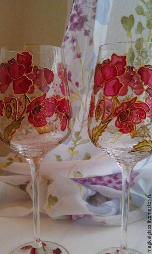 """Бокалы, стаканы ручной работы. Ярмарка Мастеров - ручная работа. Купить Бокалы для вина из хрустального стекла """" Маки"""". Handmade."""