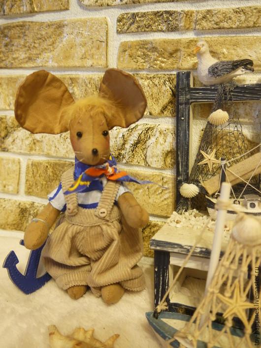 Игрушки животные, ручной работы. Ярмарка Мастеров - ручная работа. Купить мышонок моряк. Handmade. Синий, кукла ручной работы