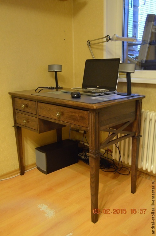 Мебель ручной работы. Ярмарка Мастеров - ручная работа. Купить Деревянный письменный стол (006). Handmade. Коричневый, мебель из дерева