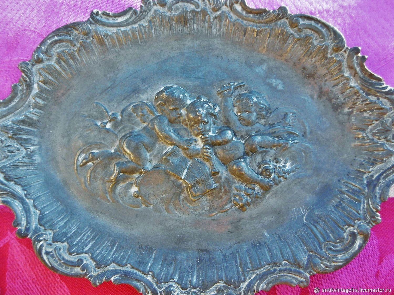 Винтаж: Старинная тарелка барельеф на стену Angelots олово Франция, Предметы интерьера винтажные, Орлеан,  Фото №1