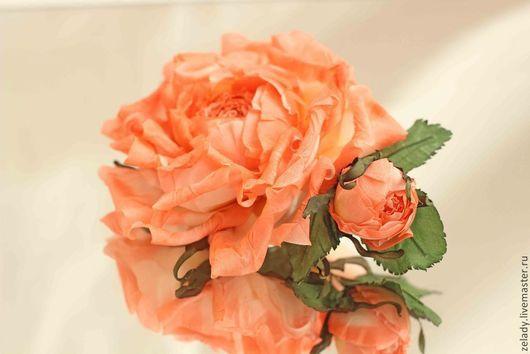 """Цветы ручной работы. Ярмарка Мастеров - ручная работа. Купить Роза из шелка  """"Оранжевое настроение"""". Handmade. Цветы из ткани"""