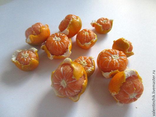 Еда ручной работы. Ярмарка Мастеров - ручная работа. Купить Кулинарная миниатюра. Мандарины - оранжевая радость. Handmade. Рыжий