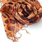 Аксессуары handmade. Livemaster - original item Scarf autumn leaves cotton 100%. Handmade.