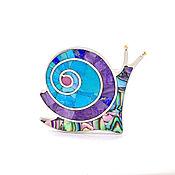 handmade. Livemaster - original item Brooch Snail. Turquoise, Charoite, Mother Of Pearl, Rhodonite.. Handmade.