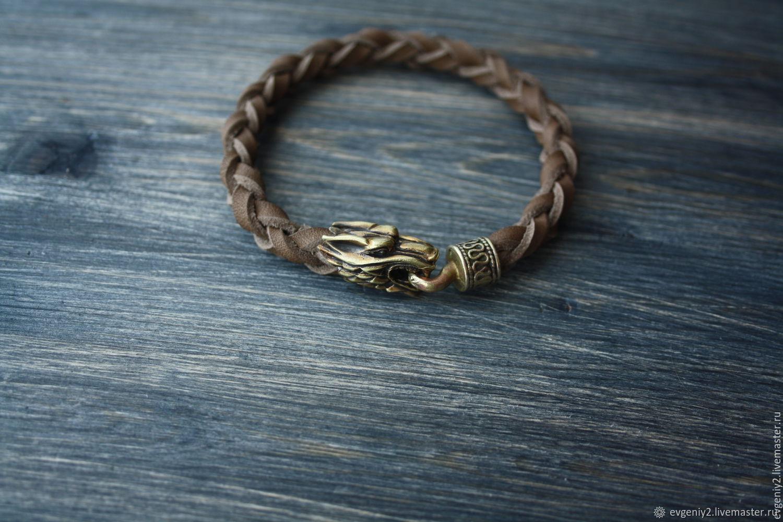 Leather bracelet with Wolf, Bead bracelet, Volgograd,  Фото №1