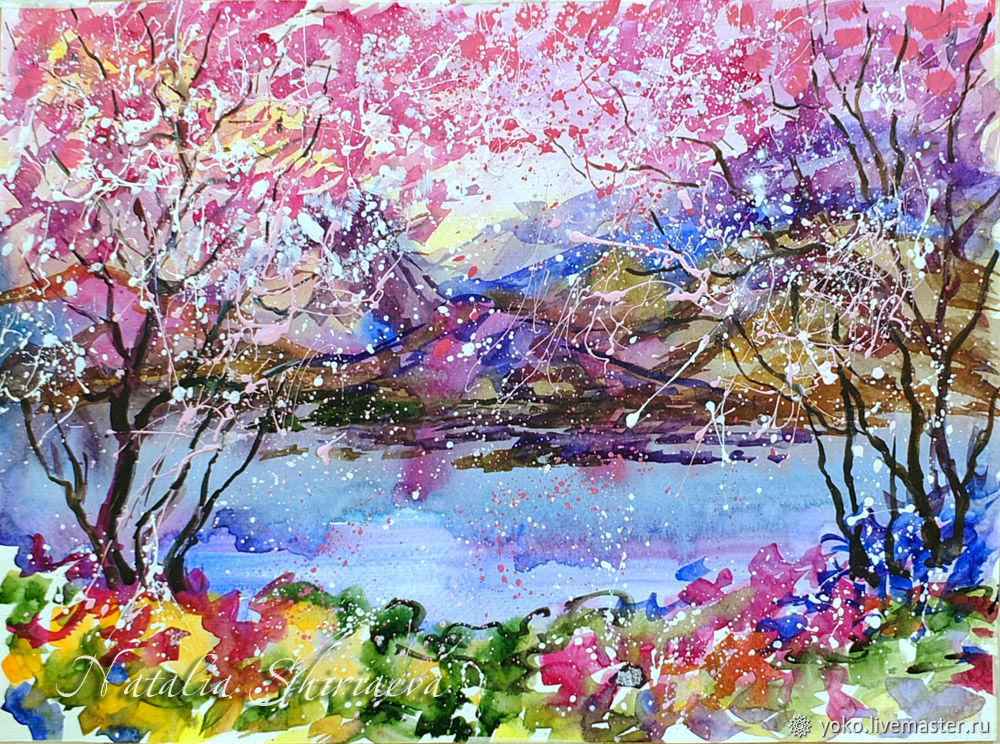Watercolor 'Cherry Blossom', Pictures, Voronezh,  Фото №1