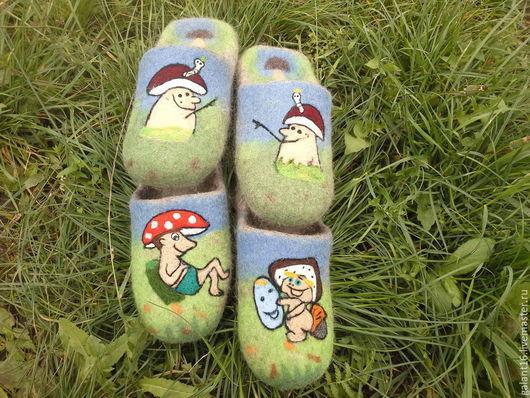 """Обувь ручной работы. Ярмарка Мастеров - ручная работа. Купить """"Грибная семейка"""" тапочки валяные. Handmade. Натуральный, стильные"""