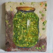 Картины и панно ручной работы. Ярмарка Мастеров - ручная работа Зелёный горошек, панно, войлок. Handmade.