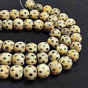 Материалы для творчества handmade. Livemaster - original item Beads Deer Horn Ball Polka Dots 20h18mm. Handmade.