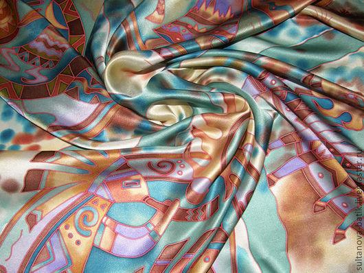 """Шали, палантины ручной работы. Ярмарка Мастеров - ручная работа. Купить платок батик """"Кокопелли"""". Handmade. Рисунок, подарок женщине"""