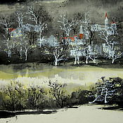 Картины и панно ручной работы. Ярмарка Мастеров - ручная работа картинаОблако озеро башня(китайская живопись город пейзаж. Handmade.