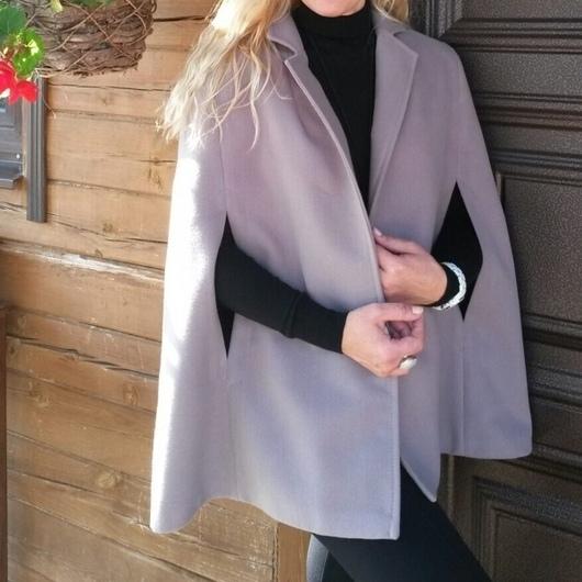 Верхняя одежда ручной работы. Ярмарка Мастеров - ручная работа. Купить Пальто - накидка  Осень 2015. Handmade. Бежевый, шерсть
