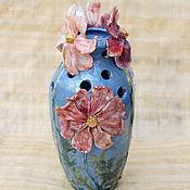 """Для дома и интерьера handmade. Livemaster - original item """"Розовые космеи"""".Ваза фарфоровая. Handmade."""