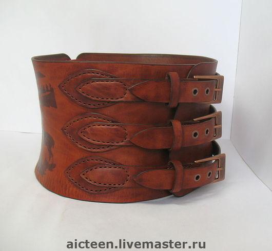 Пояса, ремни ручной работы. Ярмарка Мастеров - ручная работа. Купить Широкий корсетный пояс из натуральной кожи. Handmade.