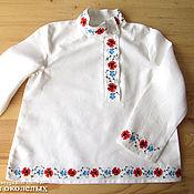 Русский стиль handmade. Livemaster - original item Blouse with poppies and flowered flax. Handmade.